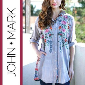 John Mark   Embroidered Linen Tunic Shirt